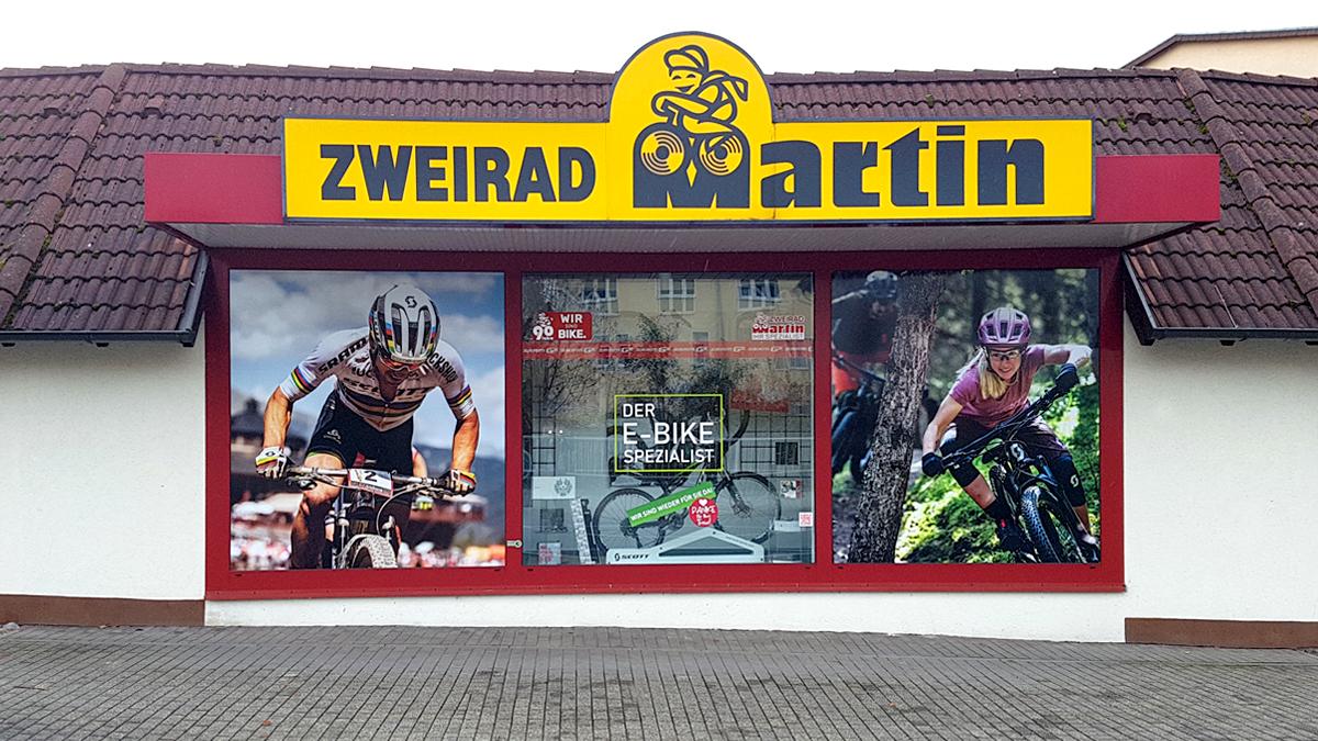 Zweirad-Martin-Schaufensterbeschriftung
